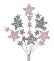 Star age 60th birthday cake topper decoration in pale pink and silver